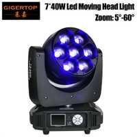Envío gratuito TP-L740 7x40 W nuevo Zoom luz Led cabeza móvil Mini ojos Disco de DJ iluminación Led DMX 12/17 canal 320 W de alta potencia