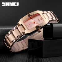 2019 SKMEI moda mujer chica reloj de cuarzo de lujo diamante Dial pulsera señoras mujer reloj de pulsera elegante reloj femenino 1400