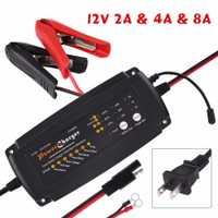 Cargador de batería automático tanto para baterías de plomo ácido motocicleta del carro del coche RV AGM GEL ee.uu. Plug 12 V 2/ 4/8A 7 etapa 3 en 1