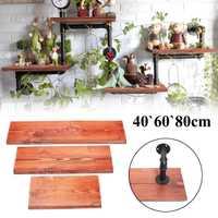3 piezas estantes de pared de madera maciza Vintage Junta Panel estante Kit 40 + 60 + 80 cm estantería con 6 tubos de hierro de montaje en pared para la decoración del hogar