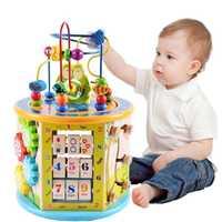Montessori pour enfant en bois 8 en 1 activité polyvalente Cube Center jouets éducatifs perle labyrinthe jouet d'apprentissage précoce pour enfants cadeaux