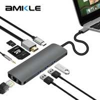 Amkle USB-C tipo C 3,1 HUB a HDMI RJ45 Gigabit Ethernet adaptador de Audio de 3,5mm con el tipo C de la policía SD TF lector de tarjetas Hub para Macbook