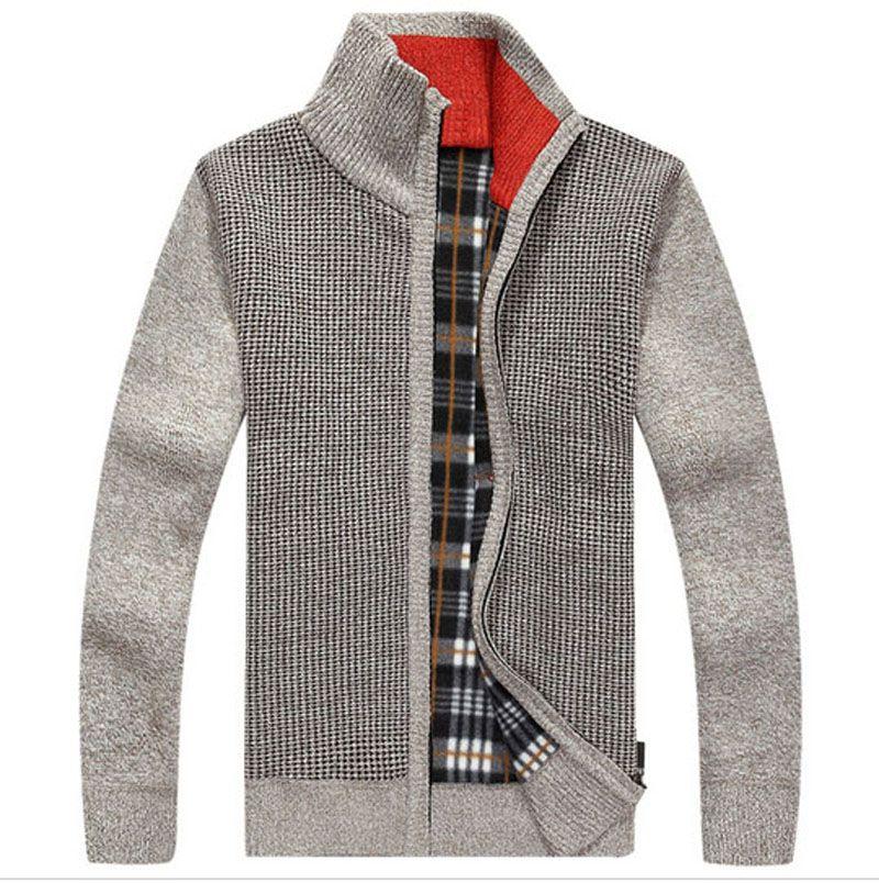 Алиэкспресс купить Свитера со скидкой Warm Thick Velvet Cashmere Sweaters Men Winter Cardigan zipper Tops stand Collar Man Casual Clothes Pattern Knitwear Big... - Ali History