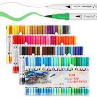 Dual consejos 100 colores bien punta cepillo marcador pluma en tinta acuarela pincel dibujo marcadores para Manga dibujo arte suministros