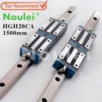 Noulei 2 piezas 20mm CNC carril de guía Linear HGR20 1500mm + 4 piezas HGH20CA transporte guías HGH20