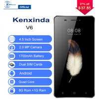 Suficiente inventario 3G desbloqueado Kenxinda V6 Smartphone 4,5 pulgadas Android 7,0 Quad Core 1G + 8G 1700 mAh teléfono móvil Celular