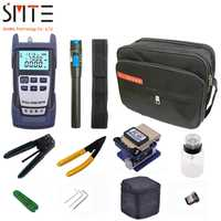 12 unids/pack FTTH fibra óptica Kit de herramientas con FC-6S de fibra óptica cleaver medidor de potencia Localizador Visual de fibra de corte alicates