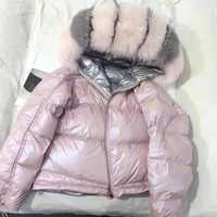 Abrigo de piel Real con cuello de piel de zorro Natural 2019 chaqueta de invierno para mujer abrigo corto suelto plumón de pato blanco chaqueta gruesa cálida Parka