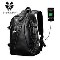 LIELANG hombres mochila USB externo cargo mochila impermeable de la PU de la moda de cuero bolso Casual bolso de escuela cuero mochila