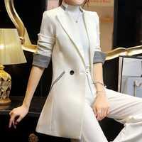Primavera mujer Slim Blazer abrigo 2018 nueva moda Casual Chaqueta larga blazers para mujer señoras Blazers ropa de trabajo