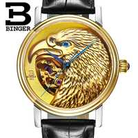 Limited Edutuion Eagle Pattern Binger Luxury Brand Watch Automatic Mechanical Watches Men Wristwatch Leather Strap Sapphire