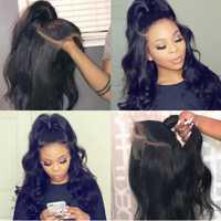 Brasileño pelucas de cabello humano para las mujeres negras con bebé peluca delantera del cordón del pelo de Remy de cabello Pre arrancó cabello nudos blanqueados