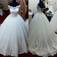Vestidos chinos De Renda Vestidos De boda rústicos Vestidos De novia 2016 mangas cortas encaje blanco apliques Vestidos De baile De boda