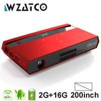 WZATCO 200 pulgadas Full HD 1080 P HD MAX 4 K MINI proyector DLP Smart Android WIFI casa teatro Beamer 3LED láser de vídeo Proyector H96.