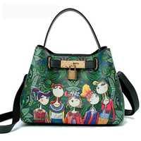 2018 nuevo bolso de lujo de la moda de la PU de la impresión de bolsos de mensajero de las mujeres del bolso del hombro del cubo verde saco a principal