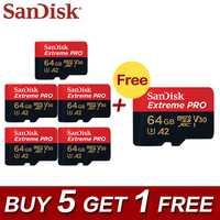 5 + 1 SanDisk Extreme Pro A2 64 GB Micro SDXC UHS-I tarjeta de memoria tarjeta Micro SD 32 GB TF tarjeta de Class10 U3 con Adaptador SD para el teléfono