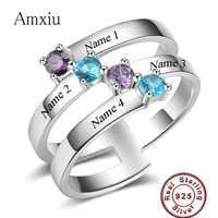Amxiu de Plata de Ley 925 gran anillo joyería grabar cuatro nombres anillos para las mujeres nombre accesorios anillos de circón cúbico