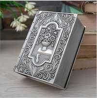 Creativa forma de libro de caja de almacenamiento de caja de joyería organizador de escritorio de metal estaño caja organizador caja algodón de Z154