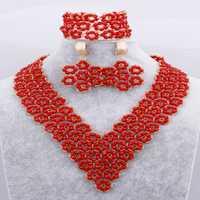 100% hecho a mano flor roja cristales cuentas conjuntos de joyería boda Africana nigeriana cuentas gran Salvia nupcial collar envío gratis