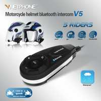 1 unids V5 1200 m motocicleta Bluetooth casco intercomunicador BT moto Interphone auriculares estéreo soporte MP3/GPS/teléfono para 5 jinetes con FM