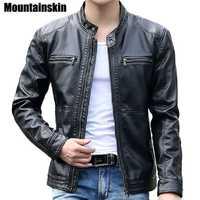 Mountainskin 5XL Hommes Vestes En Cuir des Hommes de Collier de Stand Manteaux Mâle Moto Veste En Cuir Casual Slim Marque Vêtements SA010