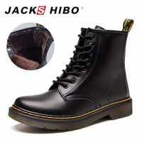 Botas de tobillo para mujer de invierno JACKSHIBO añadir piel forro botas de motocicleta de cuero genuino para mujeres con cordones botas de Mujer Zapatos calientes