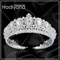 Hadiyana nuevo Bling boda corona diadema Tiara con cristal de Zirconia elegante mujer Tiaras y coronas para desfile fiesta BC3232