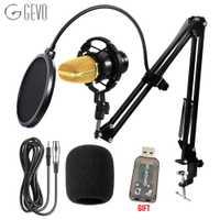 GEVO BM 700 micrófono de condensador Profesional Wired 3.5mm micrófono ordenador BM700 NB-35 soporte para micrófono filtro Pop para kareoke PC portátil regalo tarjeta de sonido USB