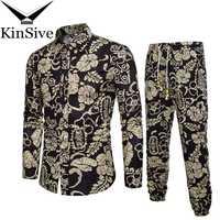 Camisetas para hombre Pantalones de chándal conjuntos de dos piezas ropa de playa camisas de fiesta traje 2018 hombres Streetwear moda flor impresa sudadera pantalón