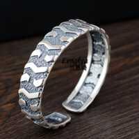 Lengkea joyas pulsera hombres anillo de plata 990, anillo de personalidad Vintage neumático de coche de apertura brazalete de los hombres del encanto de la joyería de regalo de novio