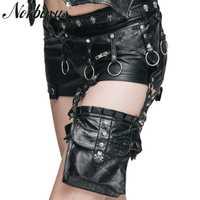 Norbinus de cuero de las mujeres bolsa de funda Retro pierna cintura cinturón bolsa mujer motocicleta Steampunk en Muslo paquete Goth teléfono pequeño bolsa