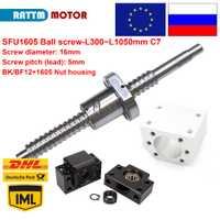 ¡DE/UE/RU entrega! SFU1605 bola screw-L300/500/600/800/1050mm extremo mecanizado y BK/BF12 y bola tuerca de tornillo y tuerca de vivienda para máquina de enrutador