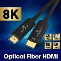Cable HDMI 2,1 de fibra óptica MOSHOU (UHD) 8K Cable 120GHz 48Gbs con Audio y Ethernet Cable HDMI HDR 4:4:4 sin pérdida de Cable