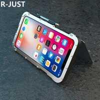 R-JUST para iPhone X funda de lujo cubierta completa de Metal duro de acero a prueba de golpes armadura de teléfono para iPhone 10 trasera cubierta Fundas