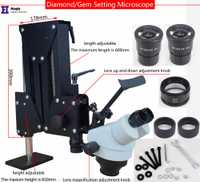 Joyería herramientas ópticas Super claro microscopio con lupa soporte diamante microscopio con fuente de luz LED