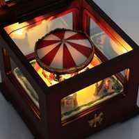 Caja de música colorida luminosa caja de música de madera de Navidad carrusel regalos para niños, amantes, amigos