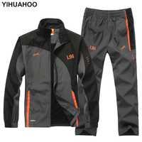 YIHUAHOO marca chándal hombres de dos piezas conjuntos de ropa Casual chaqueta + Pantalones 2 unids pista traje ropa deportiva Pantalón deportivo hombre LB1601