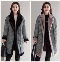 Lana piel sintética abrigo en mezcla las mujeres medio-largo-abrigos giro-abajo Collar de Outwear chaqueta a cuadros otoño Casual invierno elegante abrigo Parka