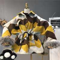 Nueva llegada abrigo de invierno para mujer Retro Geometry Wool Coats Ladies Loose Oversize algodón Paded engrosamiento largo abrigo de lana chaqueta