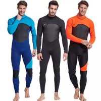 Homme combinaison corps complet, 3mm hommes néoprène manches longues combinaison de plongée-parfait pour la natation/plongée sous-marine/plongée en apnée/surf Orange