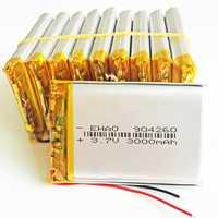 10 x piezas 3,7 V 3000 mAh batería recargable del Lipo del polímero del litio células 904260 para el banco de potencia Tablet PC e-libro cámara portátil mp5
