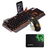 Wired LED respiración retroiluminación teclado para juegos multimedia ergonómico DPI ajustable ratón óptico gamer Combo y ratón conjunto