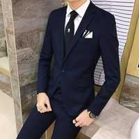 2 unids/set 2019 nueva moda estilo coreano Slim negro para hombre traje con pantalones de alta calidad trajes de boda para hombres vestido ropa ropa de hombre