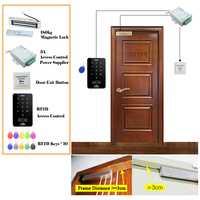 5YOA RFID Sistema de Control de Acceso DIY Kit de cerradura de puerta de cristal juego de abrepuertas cerradura magnética electrónica Tarjeta de Identificación botón de fuente de alimentación