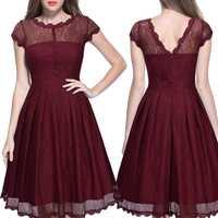 Negro Borgoña nuevas mujeres usan estación europea caliente mujeres vestido Retro Hepburn estilo cuello V Peng vestido al por mayor