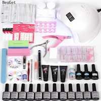 Herramienta de uñas de Gel rápida extensión de gel de uñas de Gel, herramientas de manicura de gel de barniz de UV LED con 48 w led lámpara de uñas