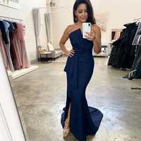 Sexy Vestidos De Noche Azul Real sin tirantes estilo sirena plisado elástico satén elegante largo vestido De graduación vestidos formales bata De Soiree