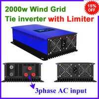 3 entrada ac trifásica 45-90 V 2000 W 2kw mppt aerogenerador red tie inverter pantalla lcd con función de limitador