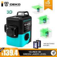DEKO LL12-HVG 12 líneas 3D verde nivel láser autonivelante 360 grados Horizontal y Vertical Cruz potente al aire libre puede uso del Detector