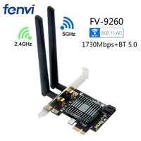 Escritorio inalámbrico PCI Express WiFi adaptador de doble banda 1730 Mbps Bluetooth 5,0 MU-MIMO Windows 10 con Intel 9260 tarjeta de red